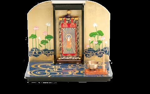 仏沙羅ミニ仏壇高さ320mm奥行210mm横幅390mm材質:木製重量:2kg仕上:本漆塗・本金箔